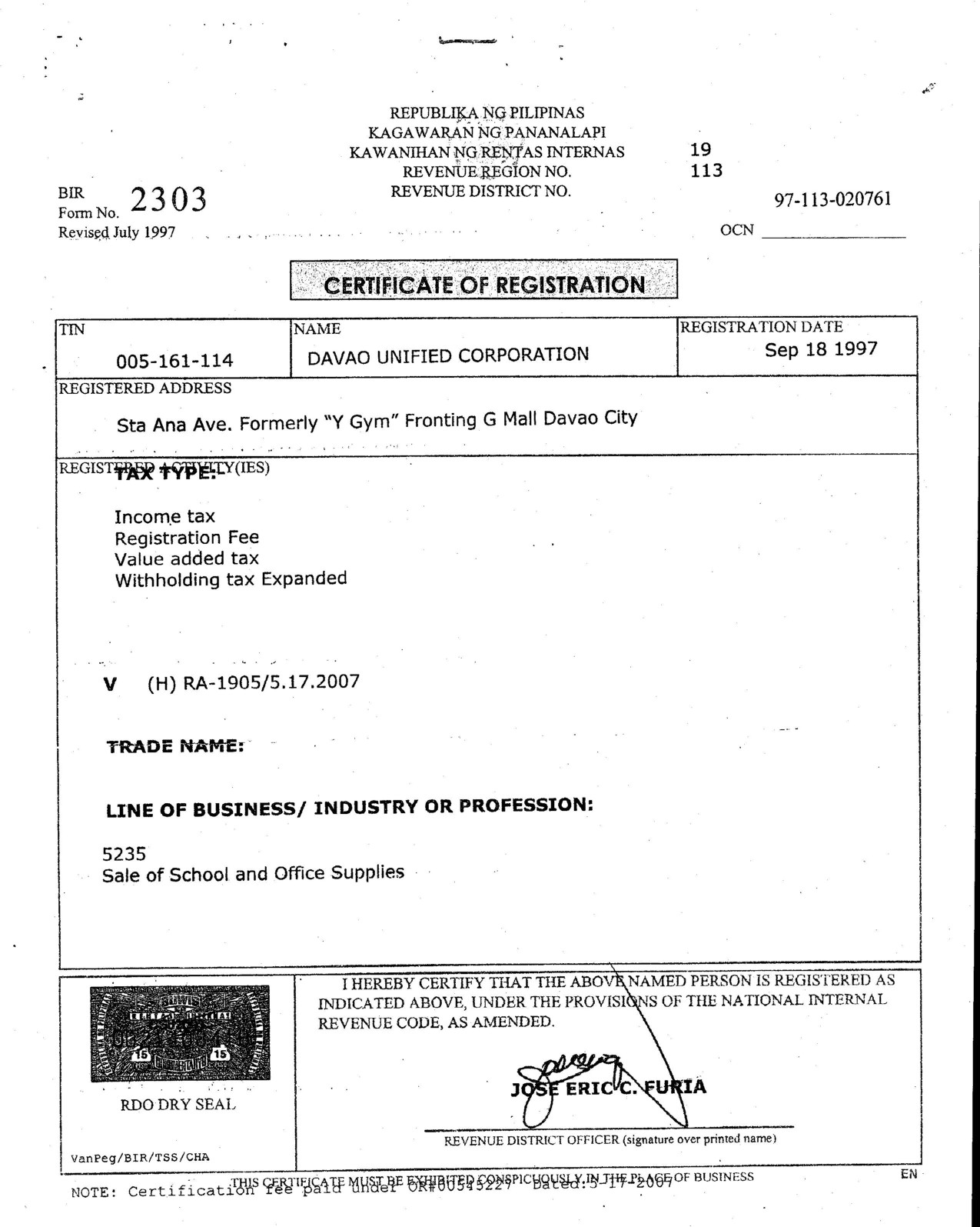 Certificate of Registration with BIR (Form 2303)