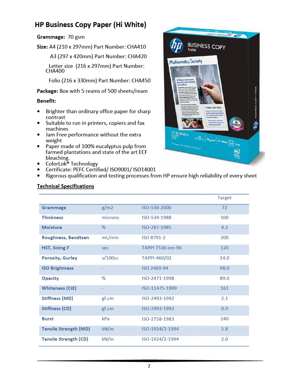 hp business paper 70gsm product specs